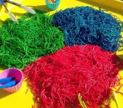 edible spaghetti sensory play