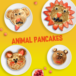 kids animal pancakes for pancake day