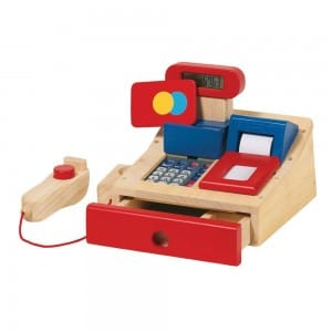 Wooden Cash Register and Scanner