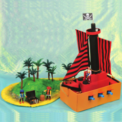 model pirate ship and treasure island crafts