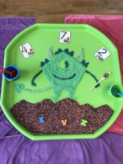 monster tuff tray messy play
