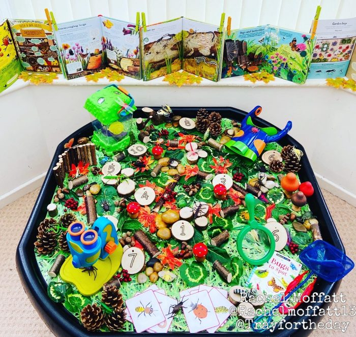in the garden minibeast tuff tray play set up