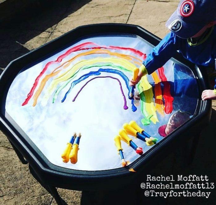 mirror rainbow tuff tray play set up