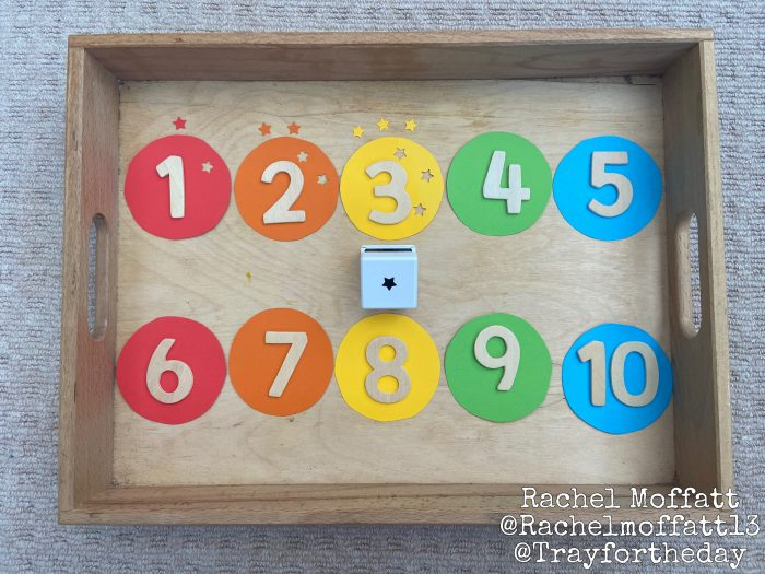 numbers small tray play set up