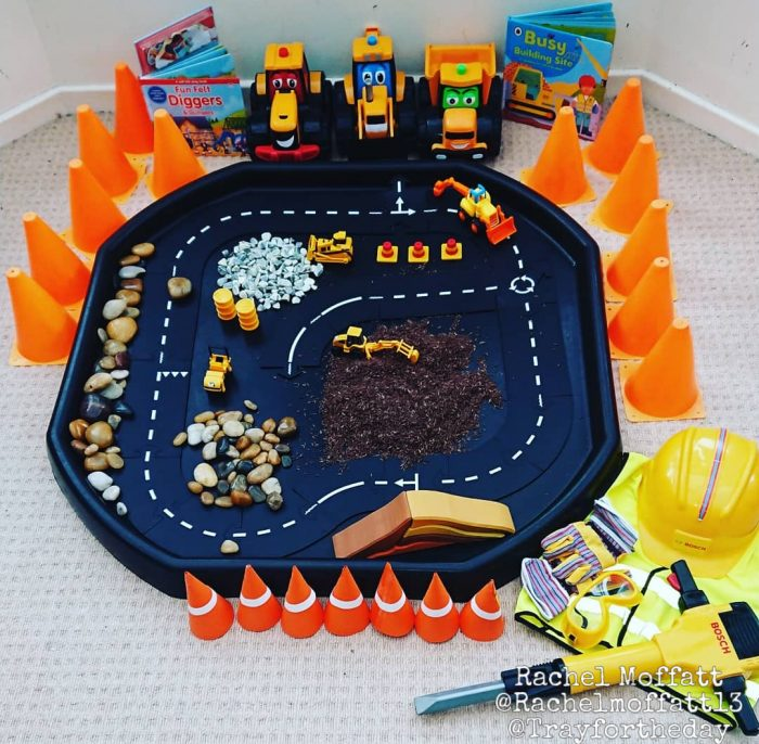 big builders construction tuff tray play set up