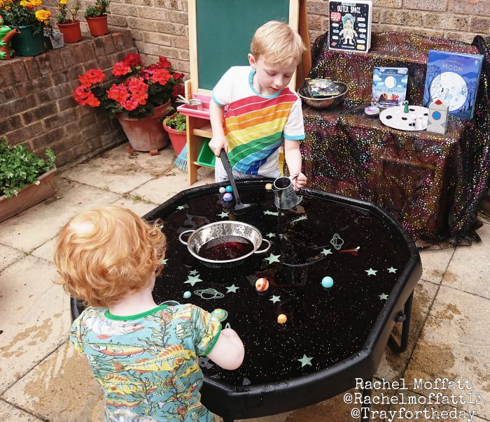 outer space tuff tray play set up