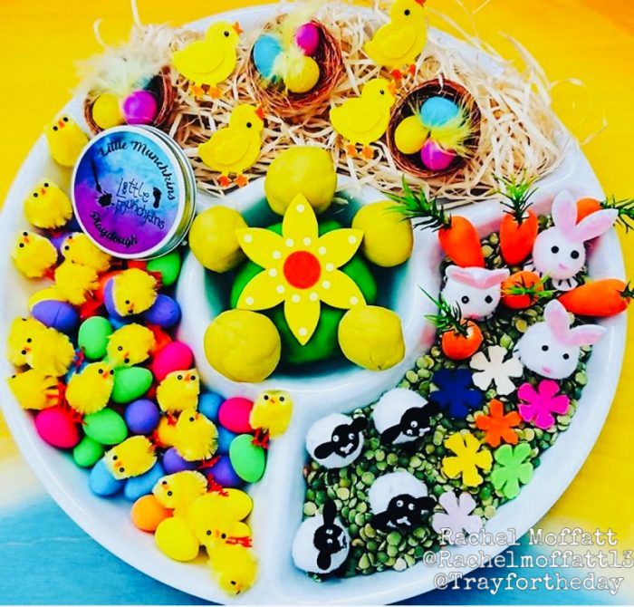 easter circle compartment tray play set up