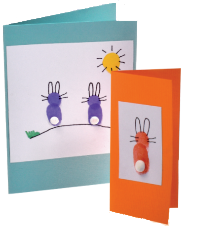 Easter bunny cards made from finger prints