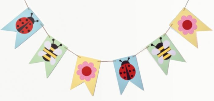 Colourful bunting with spring themed images