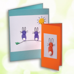 easter bunny finger print cards