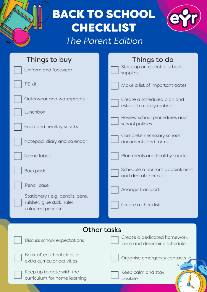 Back to school checklist for parents