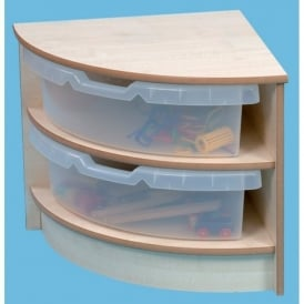 2 High Corner Unit With Trays Maple