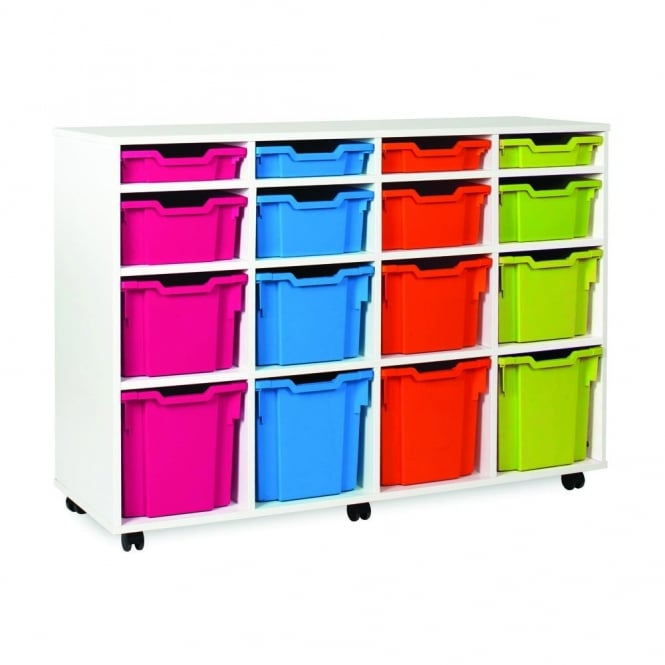 4 Shallow 4 Deep 4 3/4, 4 Jumbo Tray Storage Unit - White Finish