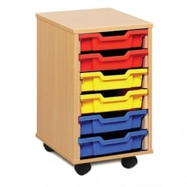 6 Shallow Clear/Colour Tray Storage Unit