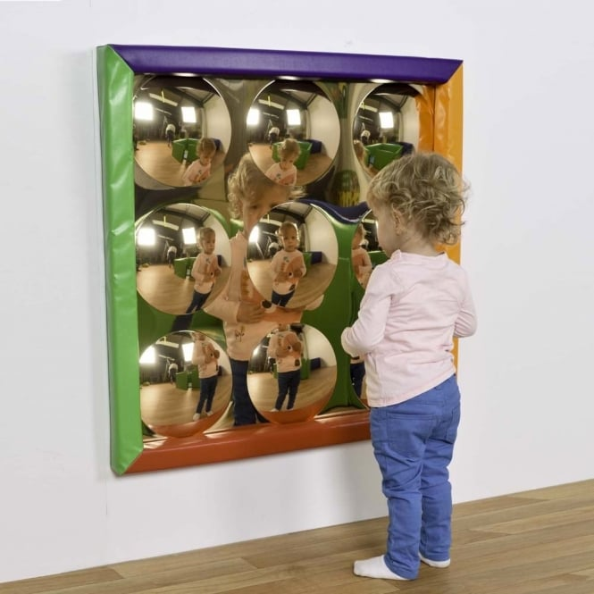 9 Bubbles Sensory Gold Mirror with Soft Frame