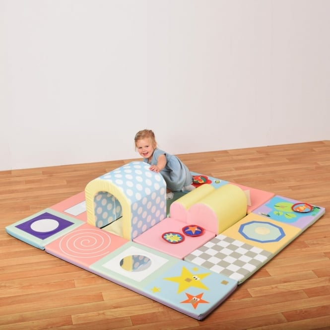Baby and Toddler Sensory Mat and Tunnel Set - Pastel