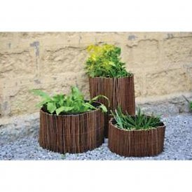 Circular Willow Planters with Grow Bags Set