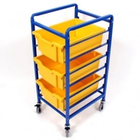 Compact Mobile Storage Trolley With 3 Deep Trays
