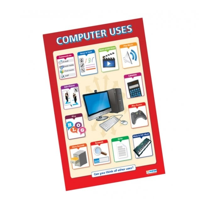 Classroom Design Chart ~ Computer uses poster ict from early years resources uk