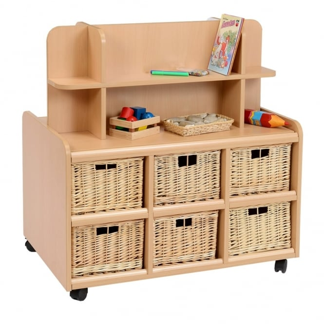 Double Sided Storage Unit With 6 Deep Wicker Baskets - Shelf Display and Mirror  sc 1 st  Early Years Resources & Double Sided Storage Unit With 6 Deep Wicker Baskets - Shelf Display ...