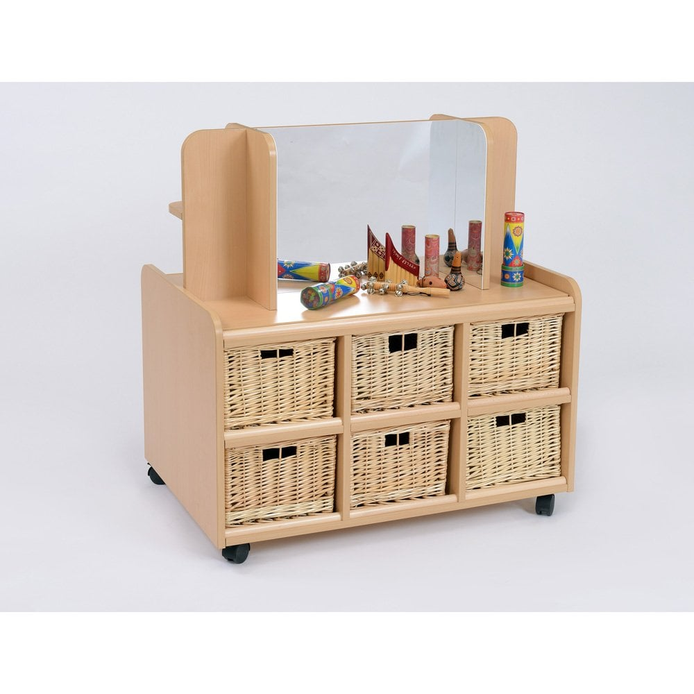 Double Sided Storage Unit With Display Mirror And Deep Wicker