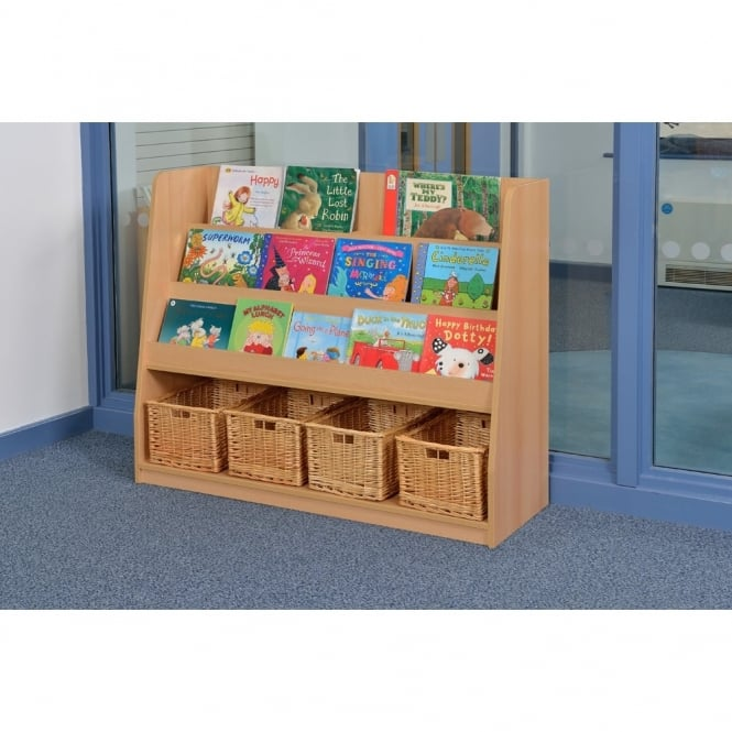 Fusion Book Storage Unit Including 4 Wicker Baskets Furniture From