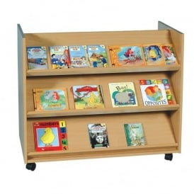 Library Shelf Unit A - 3 Angled, 3 Flat Shelves