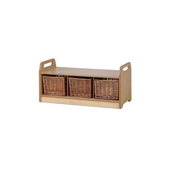 Cool Low Level Storage Bench With Tubs Or Wicker Baskets Uwap Interior Chair Design Uwaporg