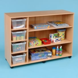 Mobile 4 Tray And 3 Shelf Storage Unit With Clear Trays