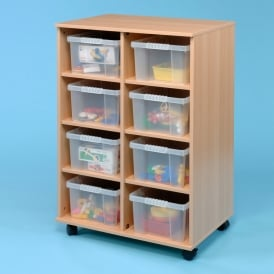 Mobile Flexi Storage Unit With 8 Clear Trays