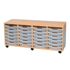 Mobile Storage Unit With 24 Shallow Clear Trays