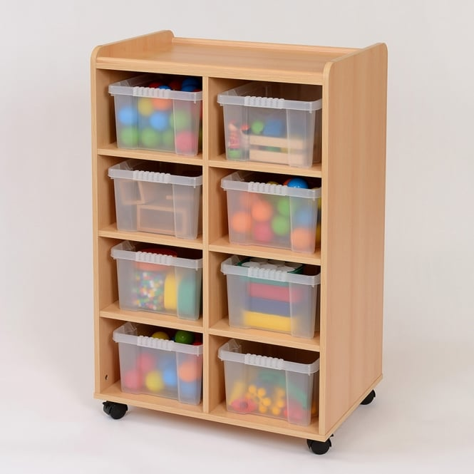 Mobile Storage Unit With 8 Clear Trays