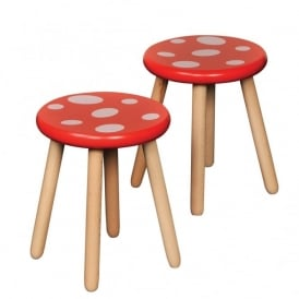 Pack Of 2 Wooden Toadstool Chairs