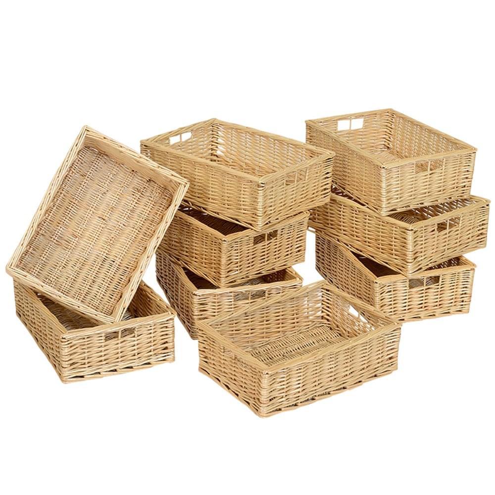 Soft Rush Lidded Rectangular Lined Storage Basket: Wicker Baskets With Lids Uk