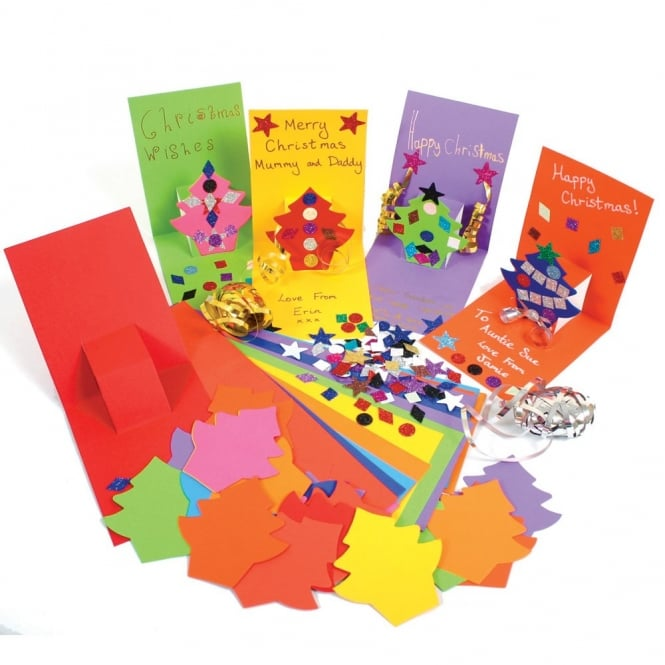 Pop Up Christmas Tree Cards Pack Of 30 Art Craft From Early