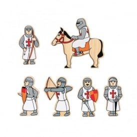 Red Knights Wooden Characters
