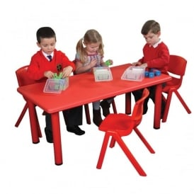 Red Rectangular Classroom Tough Table