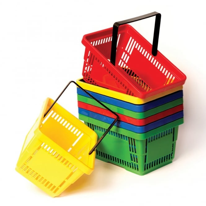 Set Of 8 Coloured Shopping Baskets
