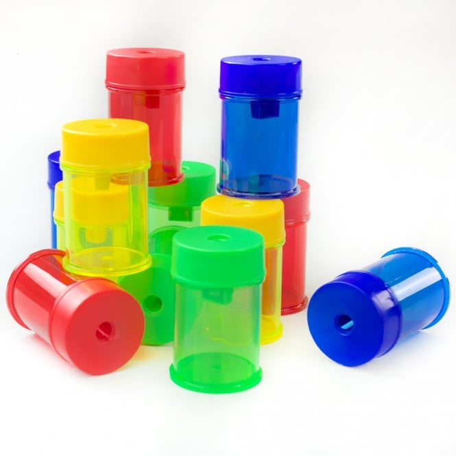 Single Hole Canister Pencil Sharpeners Pack 12