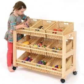 Single Sided Tidy - 9 Wicker Baskets