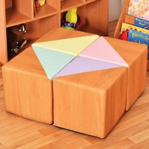 Wood Effect Pastel Cube Seats