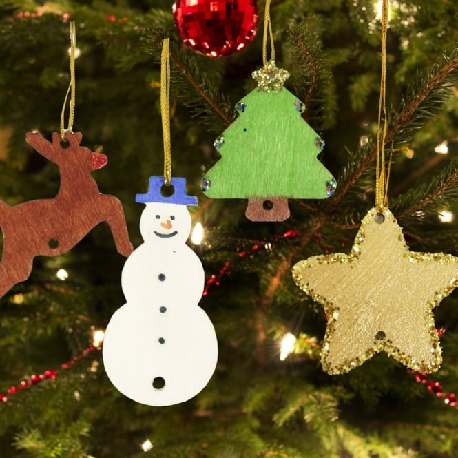 Awesome Wooden Christmas Tree Decorations (Pack Of 54)