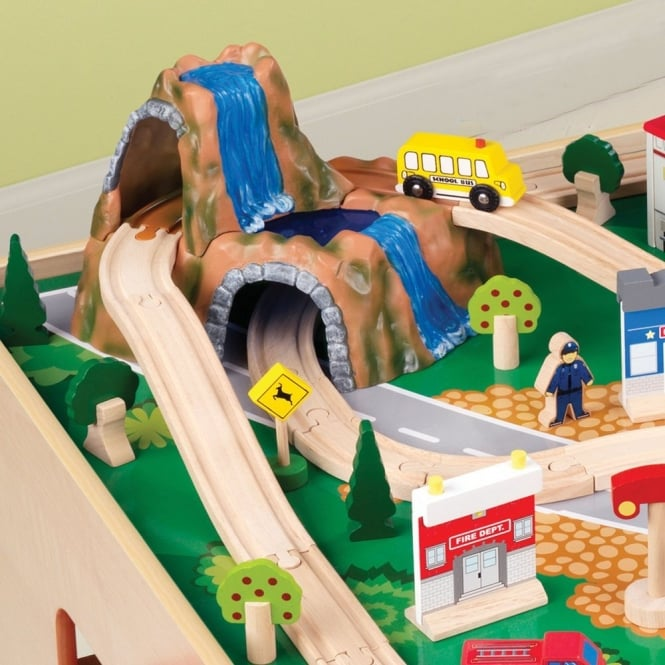 Wooden Train Table With Train Set & Wooden Train Table With Train Set - Imaginative Play from Early ...