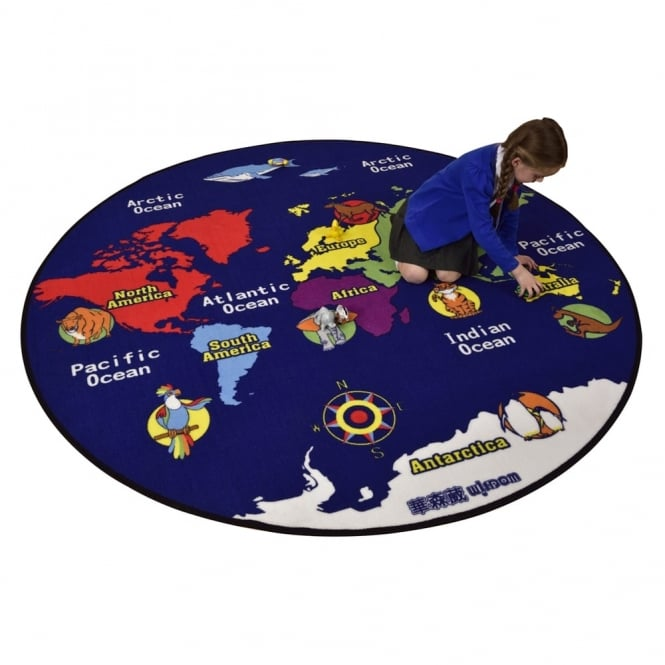 Round Globe Map.World Map Round Rug 2m Furniture From Early Years Resources Uk